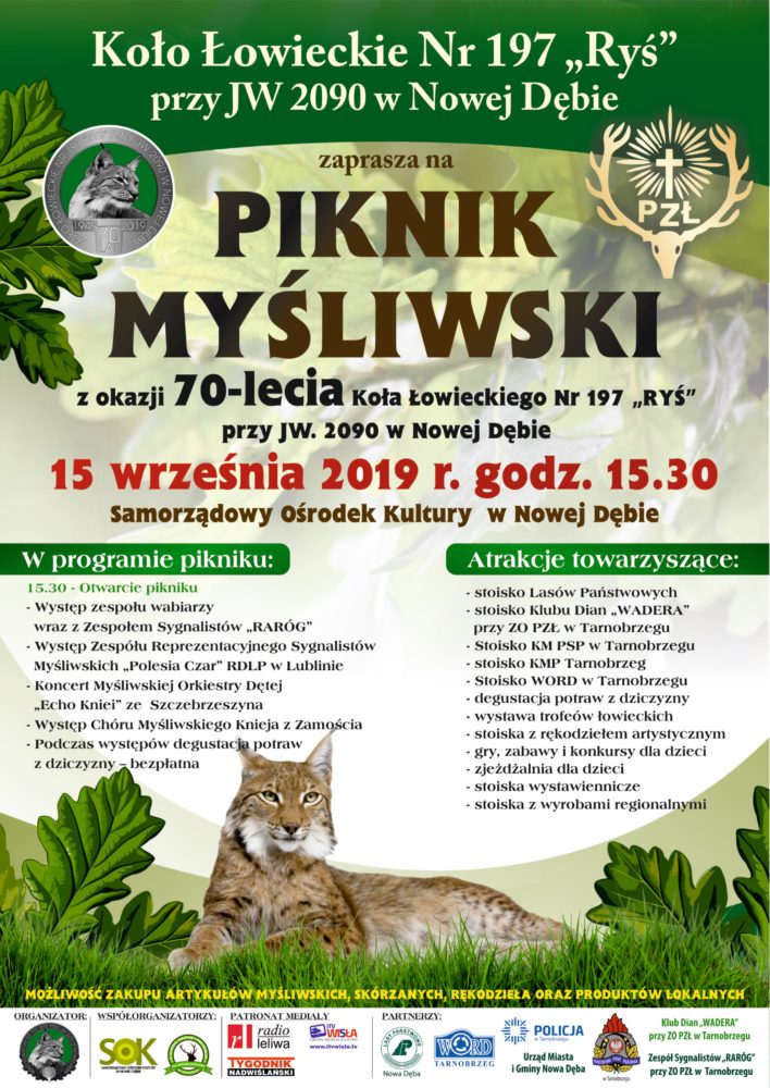 """Koło Łowieckie Nr 197 """"Ryś"""" przy JW 2090 w Nowej Dębie zaprasza na Piknik Łowiecki.15.09.2019 r."""