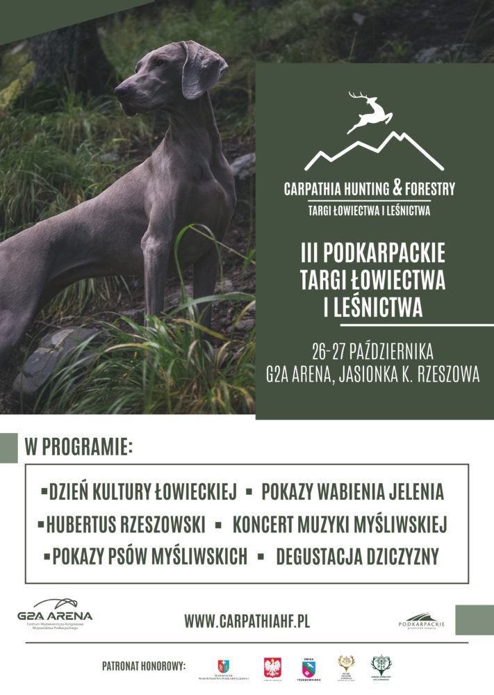 Trzecia edycja Targów Łowiectwa i Leśnictwa CARPATHIA HUNTING & FORESTY, która odbędzie się w dniach 26-27 października w G2A Arena w podrzeszowskiej Jasionce.