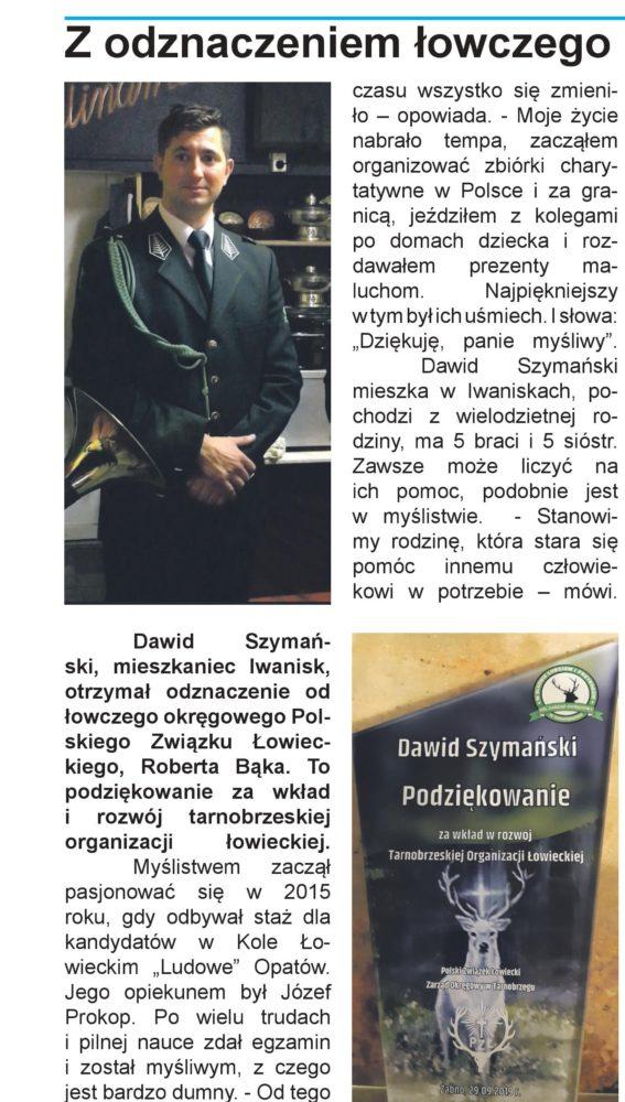 Piszą o myśliwych, brawo Dawid. Źródło Kurier Opatowski, listopad 2019 r.