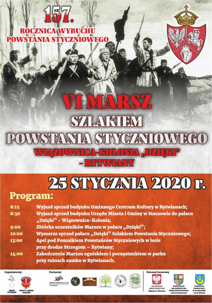 To już VI Marsz Szlakiem Powstania Styczniowego, 25.01.2020 r.(sobota)