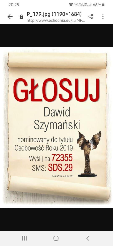 Do dzieła koleżanki i koledzy, głosujemy na Dawida Szymańskiego !