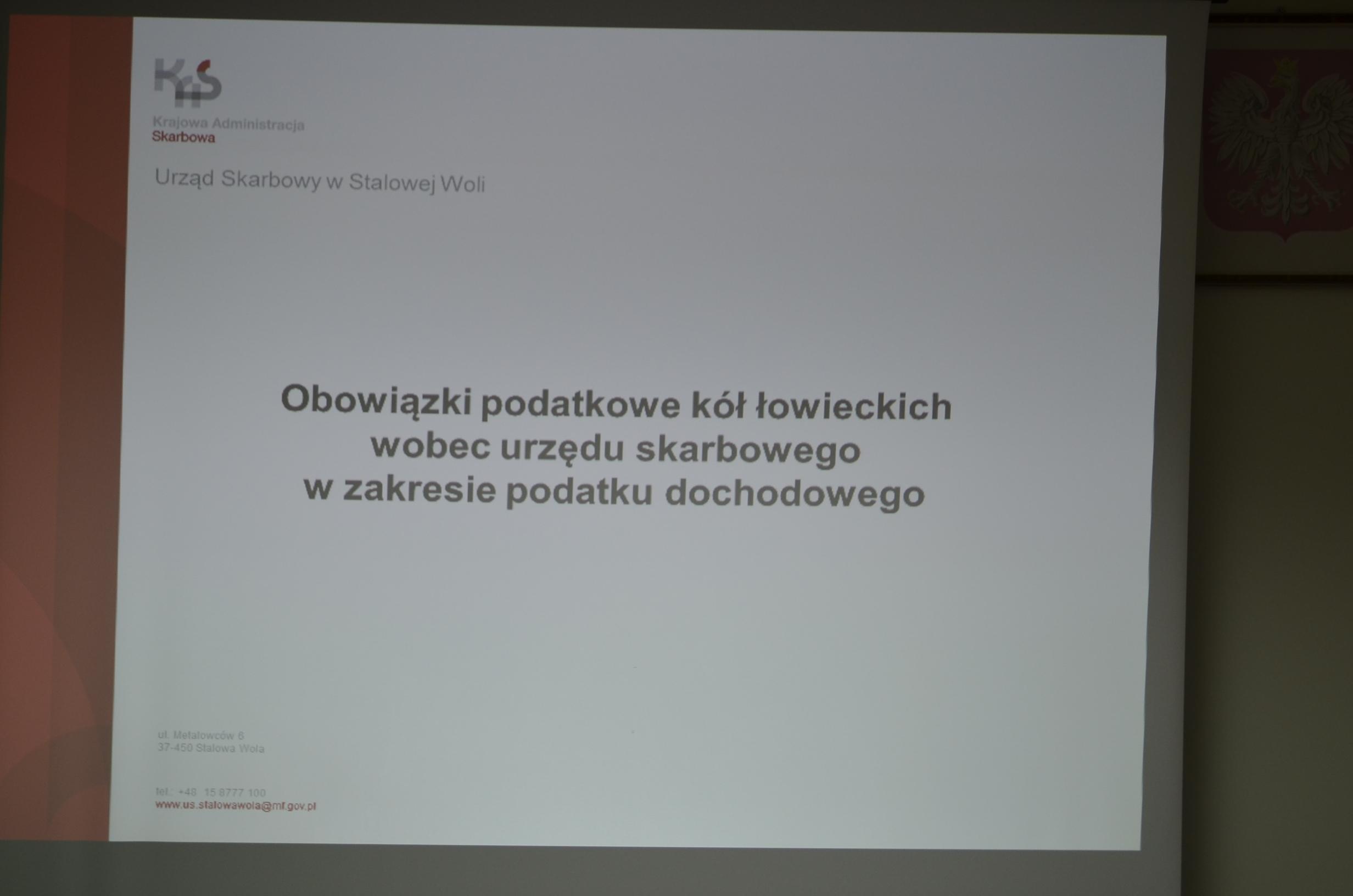 🔉 Szkolenie zorganizowane przez zarząd okręgowy PZŁ w Tarnobrzegu i Urząd Skarbowy w Stalowej Woli.